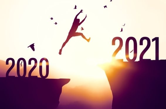 person jumping from 2020 to 2021 - Oppertunity & Wellness Concept Image