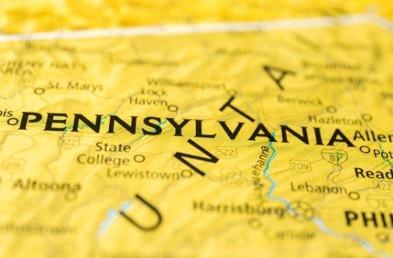Pennsylvania map - Opioid Deaths in Pennsylvania concept image